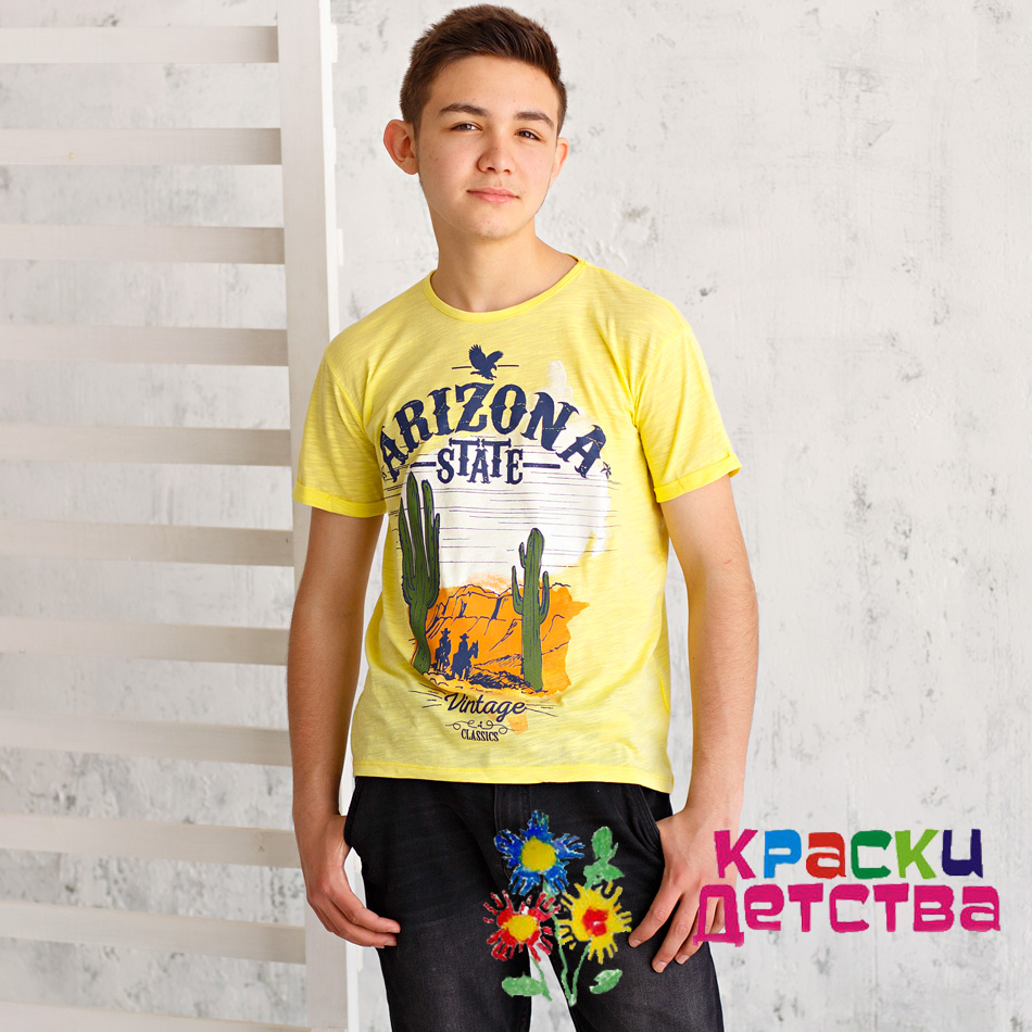ярко-желтая футболка с принтом